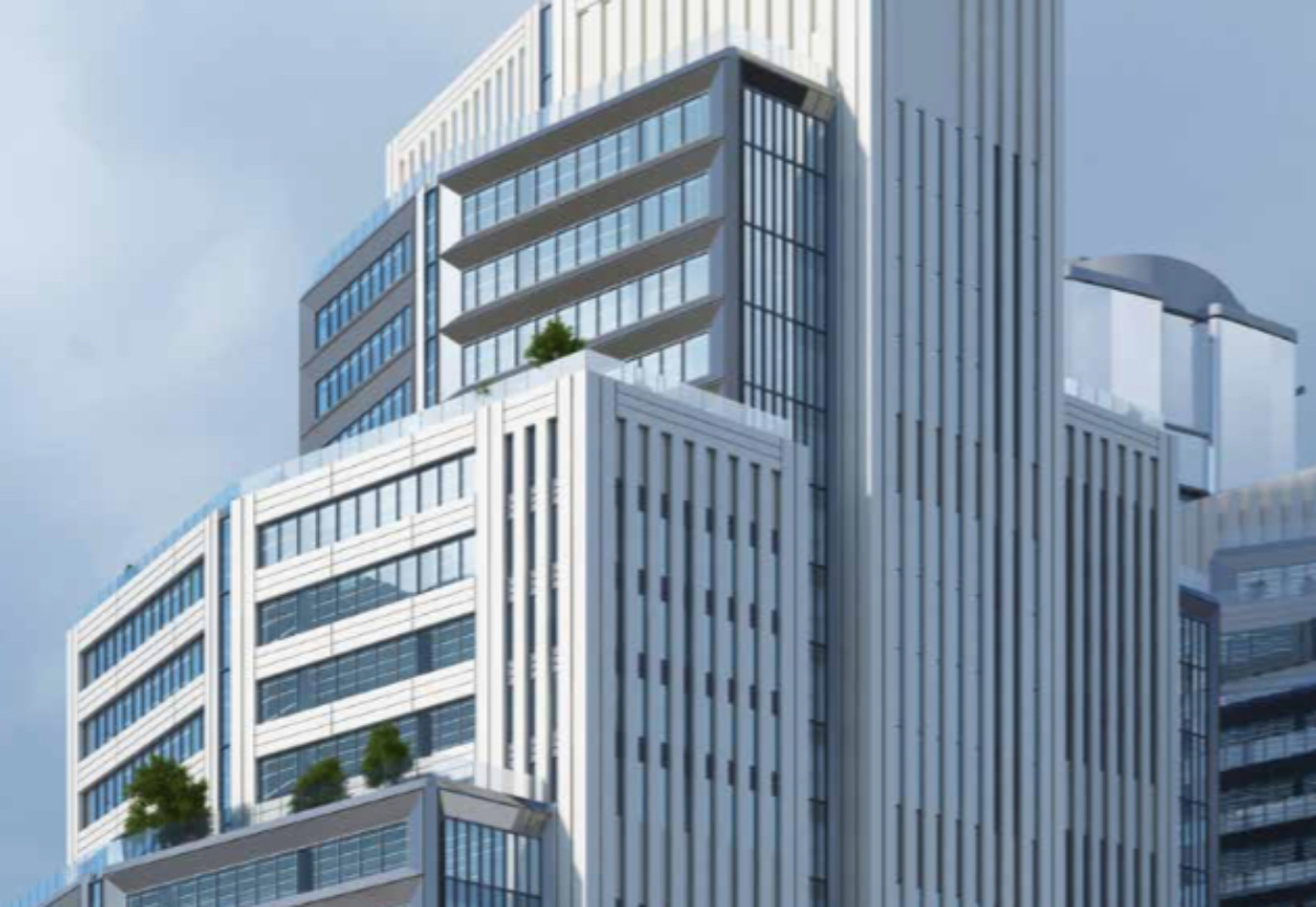 Stepped design for the office complex consists of four linked vertical blocks.