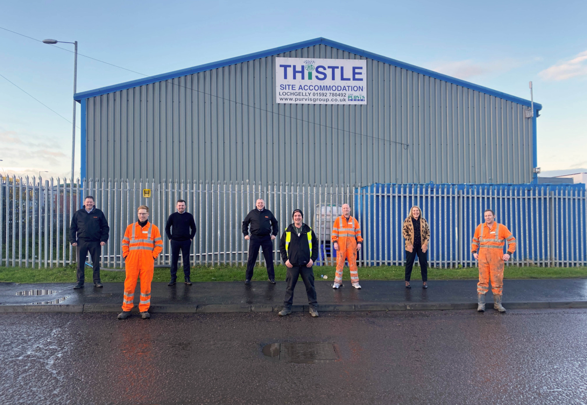 Wernick Hire's Regional Director for Scotland, Ricky Wedlock (centre-back), and Lochgelly Depot Manager, Stuart Walker-McInnes (far left) welcome the new team