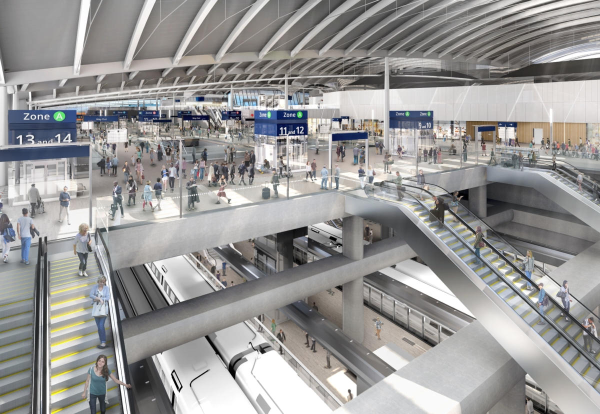 HS2 trains will pass below the convention station which has overbridge links to Crossrail