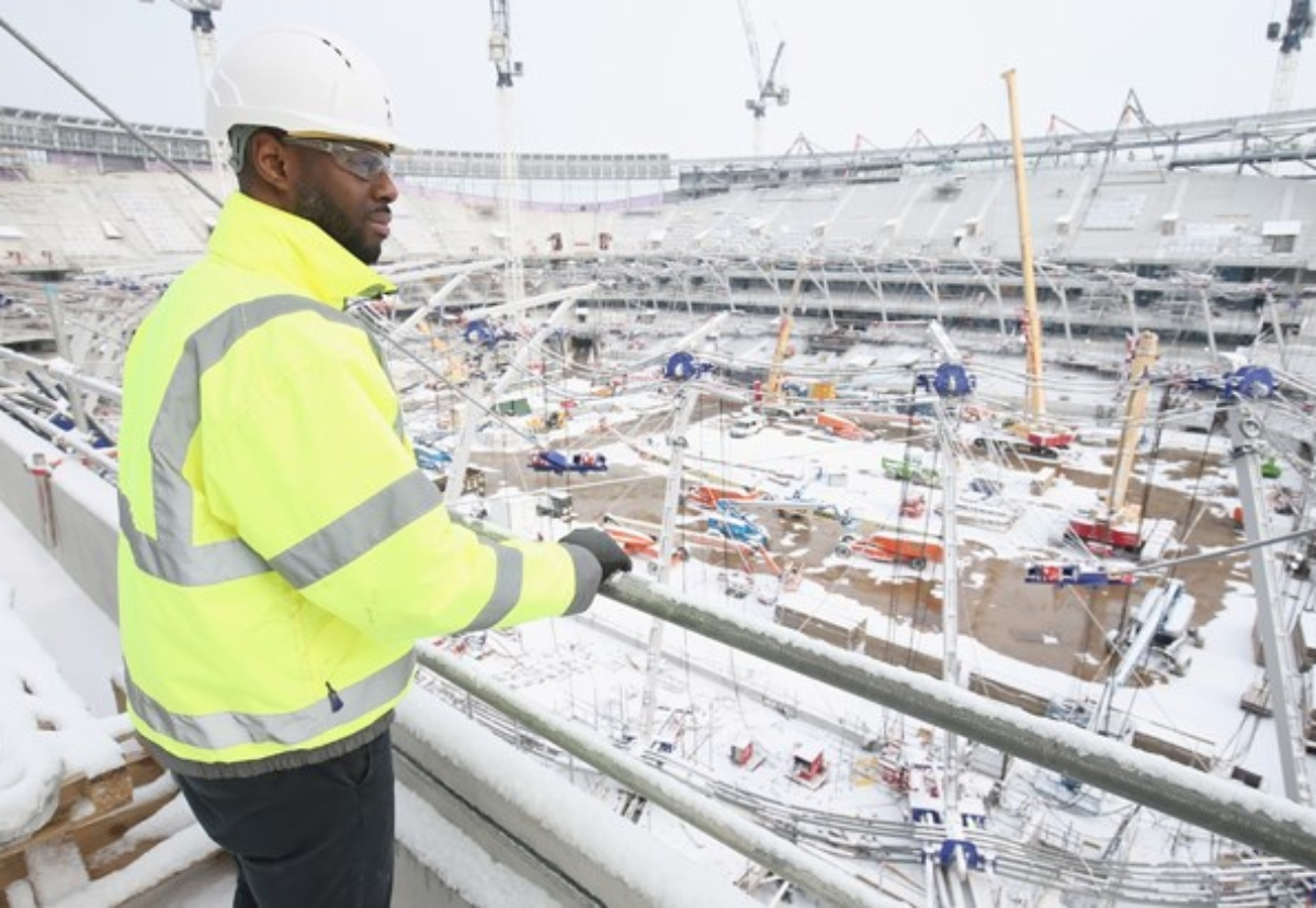 Ledley King checks on construction