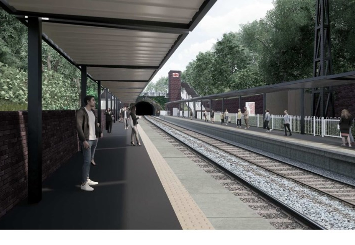 New Moseley station looking toward tunnel