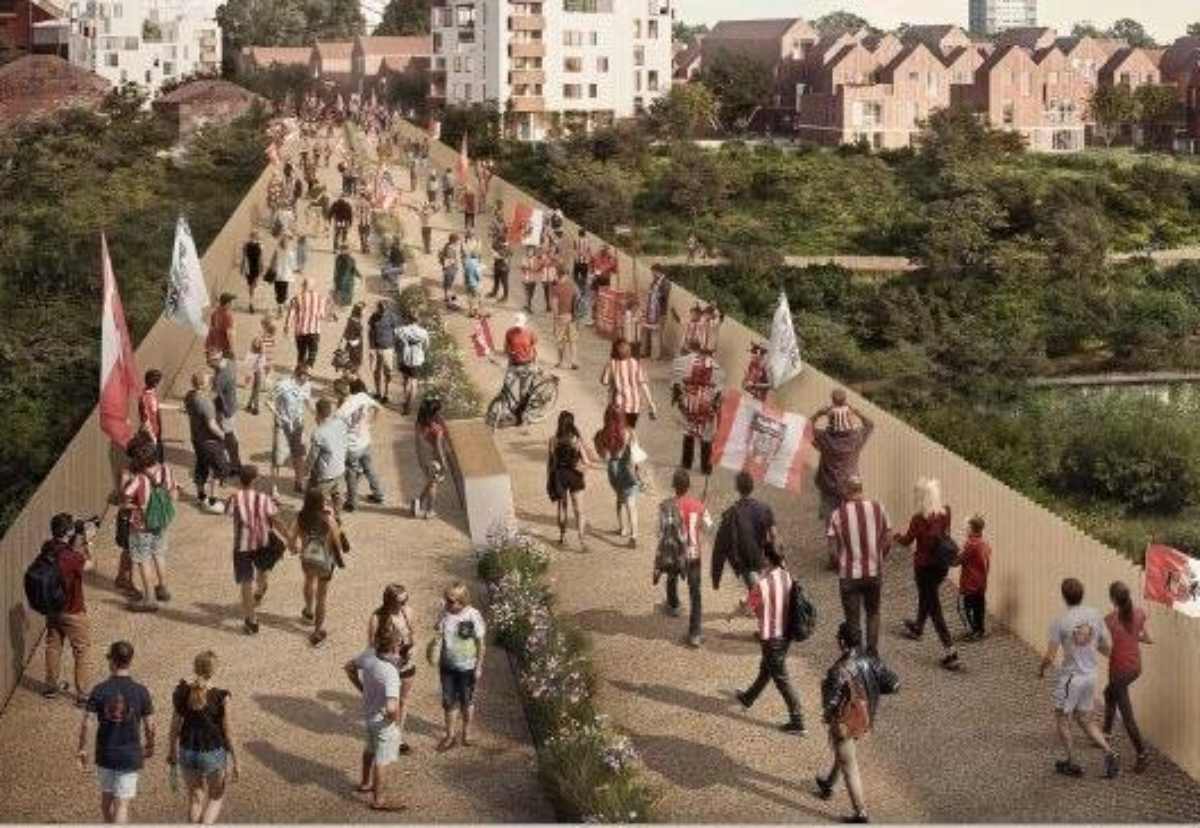 Pedestrian bridge will connect the transforming former Vaux Brewery site to Sheepfolds.
