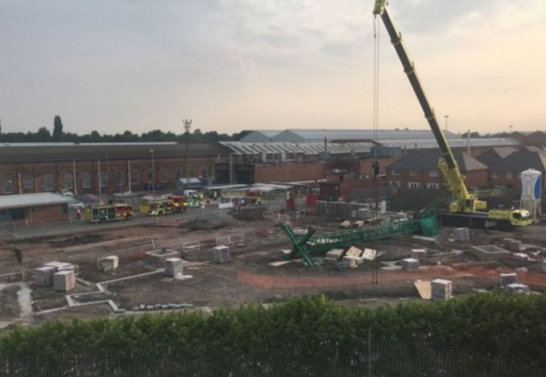 Site shots courtesy of the BBC appear to show a toppled freestanding tower crane