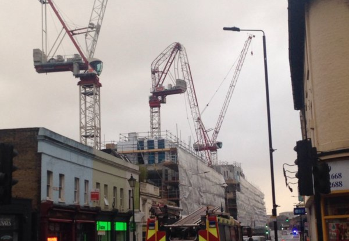 One of three cranes on the site failed. Pic courtesy of @rolfey180/Twitter