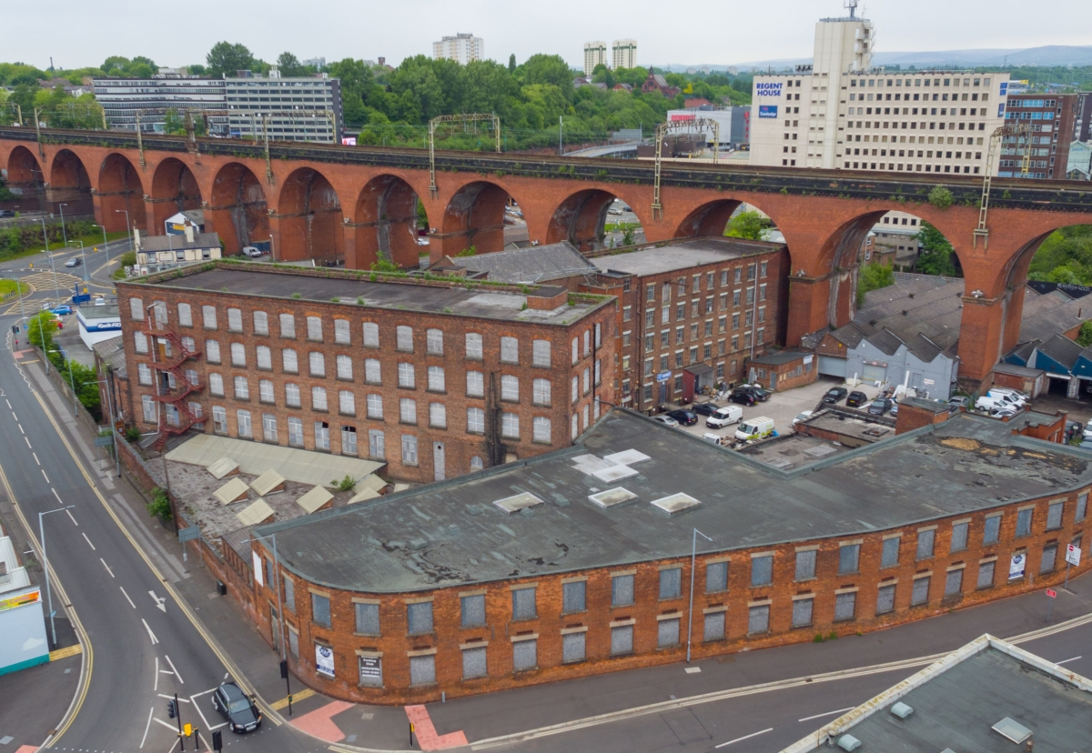 Weir Mill will be converted into 250 flats with ground floor café-bars, delis and independent shops and surrounding courtyards and green spaces