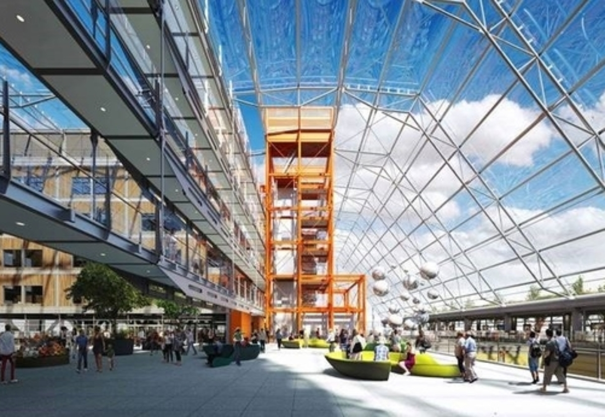 View of the hospital's Winter Garden - Image courtesy of Edward Williams Architects