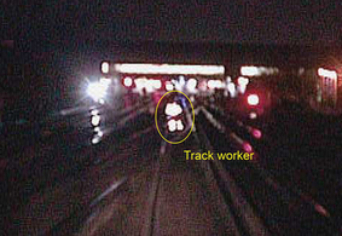 The worker caught on train-cam