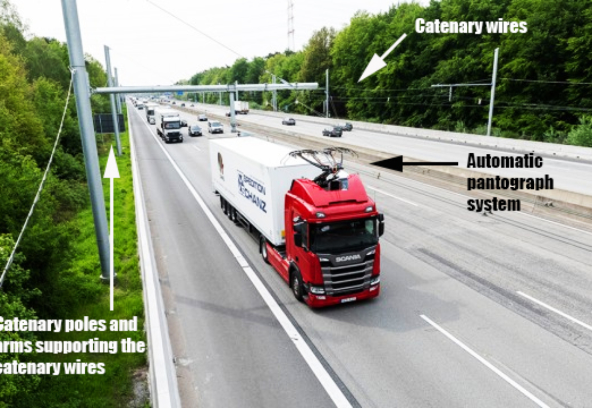 A Scania HGV operating on a catenary lorry 'eHighway' demonstrator in Germany. Credit: Siemens.