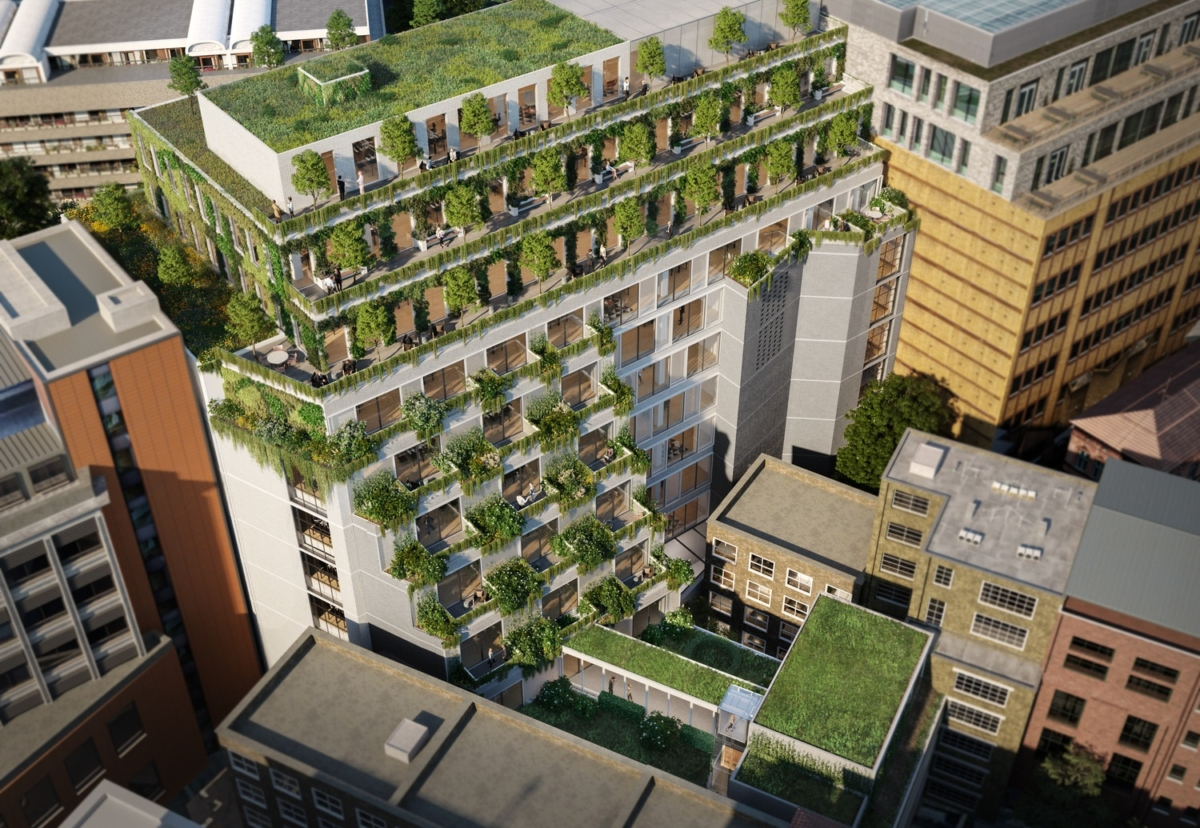 Green roofs, roof terraces, hard and soft landscaping set to benefit townscape views, wellbeing and improve air quality